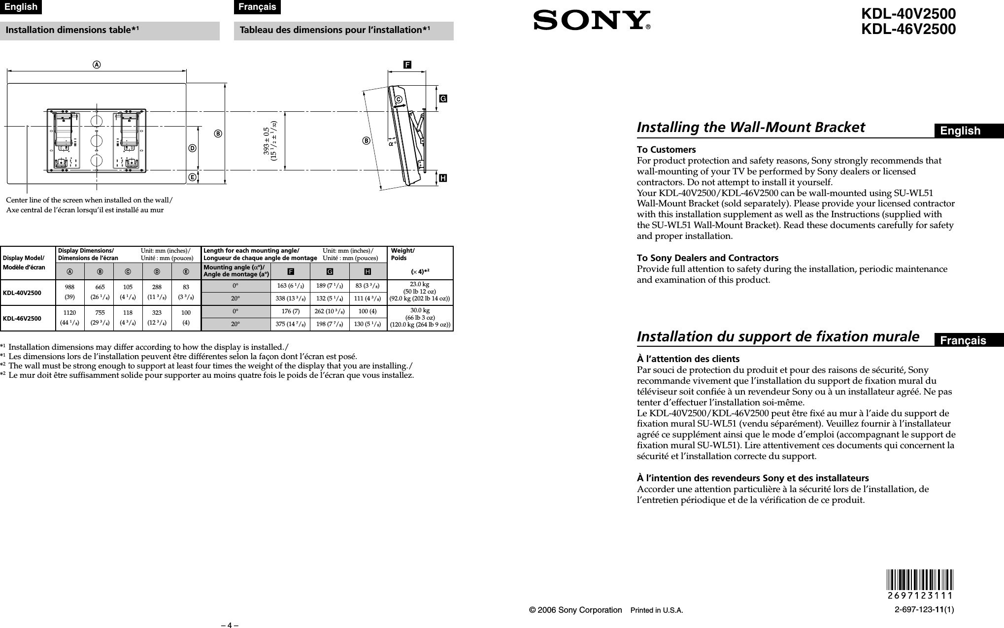 sony kdl-46v2500 wall mount instructions