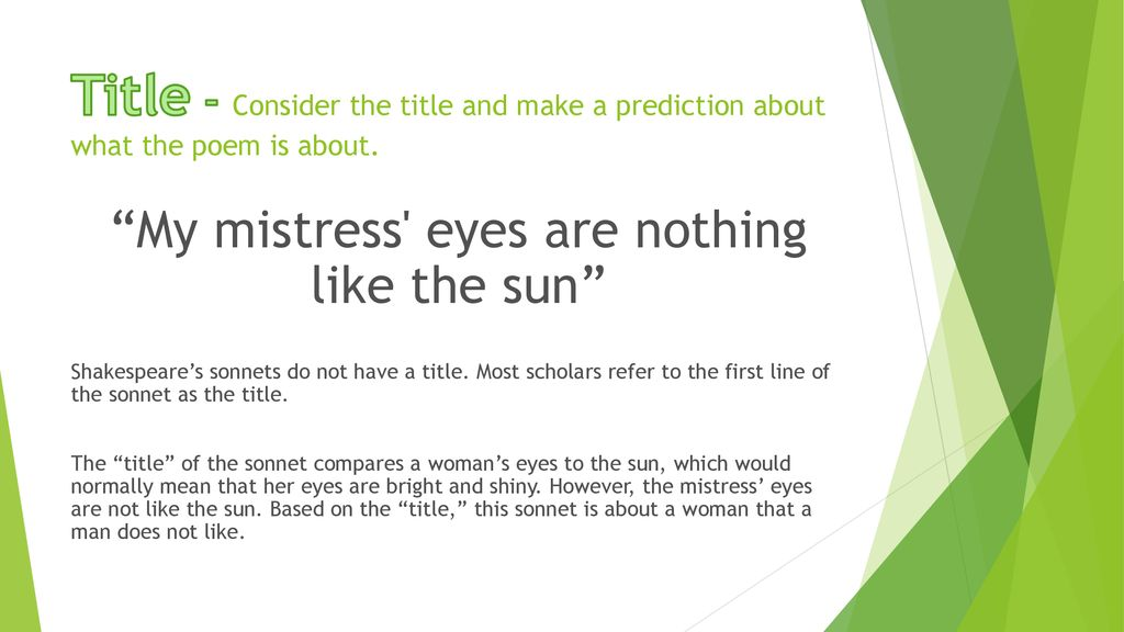 My mistress eyes are nothing like the sun summary pdf