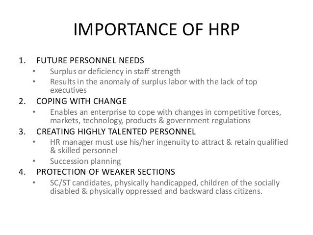 Significance of human resource planning pdf