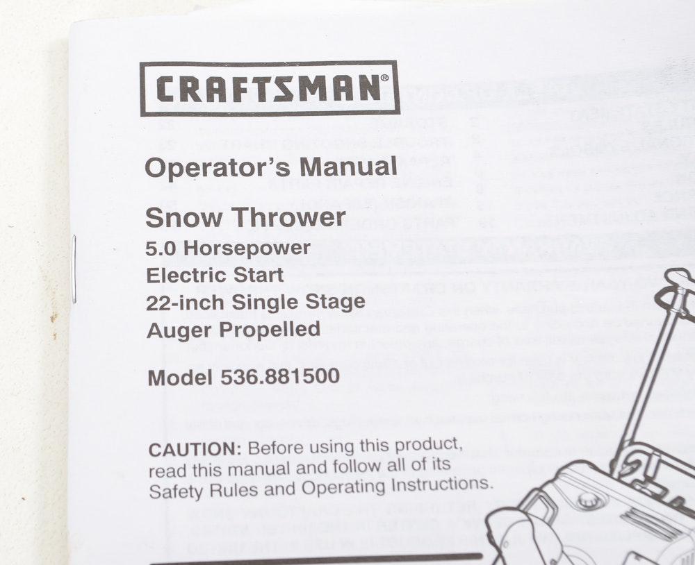 Craftsman 22 snow thrower manual