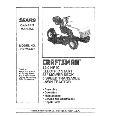 craftsman 12 hp 38 lawn tractor manual