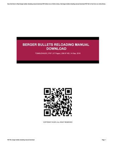 berger bullets reloading manual pdf