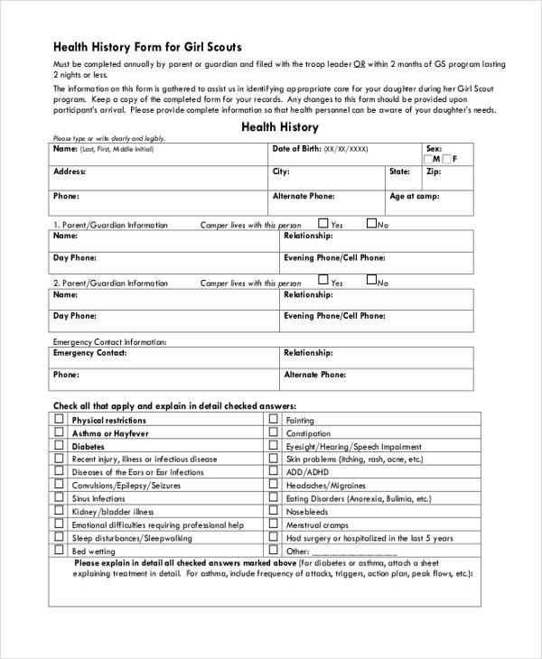 Medical check up form pdf