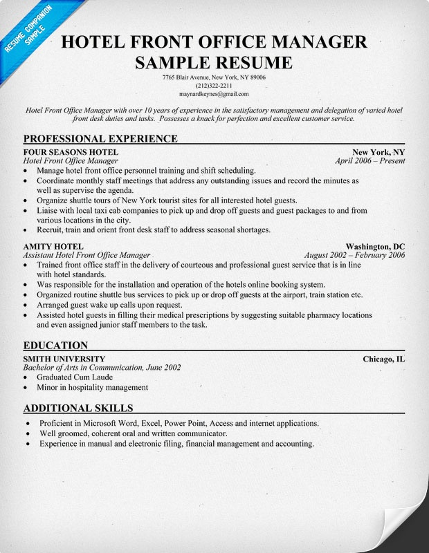 Front office manager resume pdf