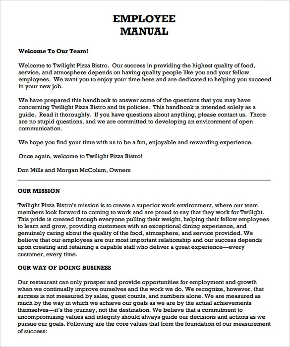 Free employee policy manual template