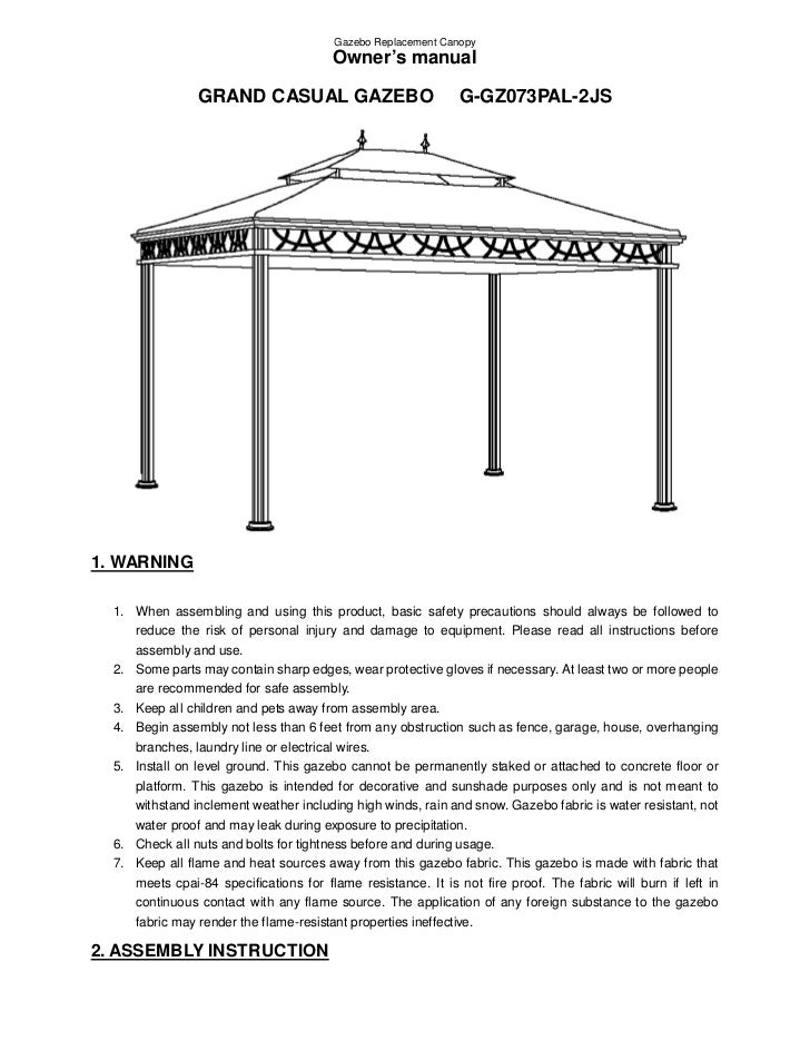 instruction manual for gazebo netting