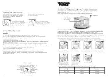 Instructions for tommee tippee steam steriliser