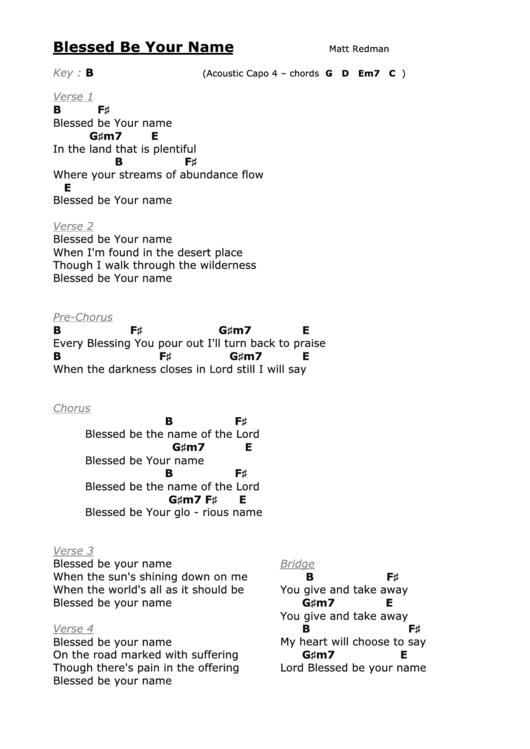 Your great name chords pdf
