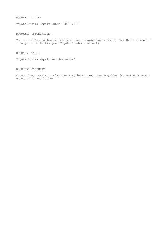 2012 toyota tundra repair manual