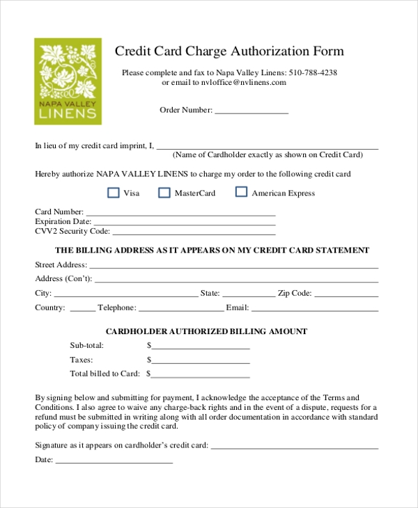 Credit card charge form template