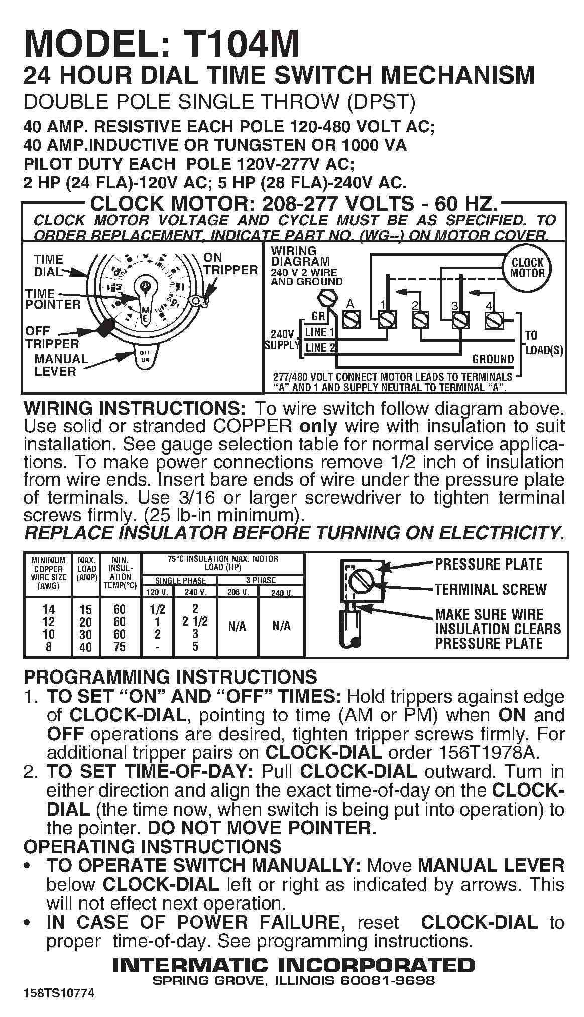 old intermatic timer instructions