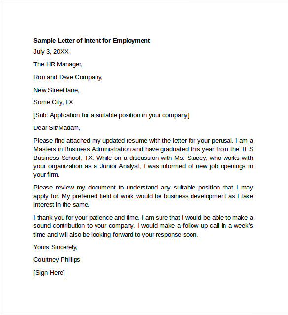 Example letter from employer for jp application
