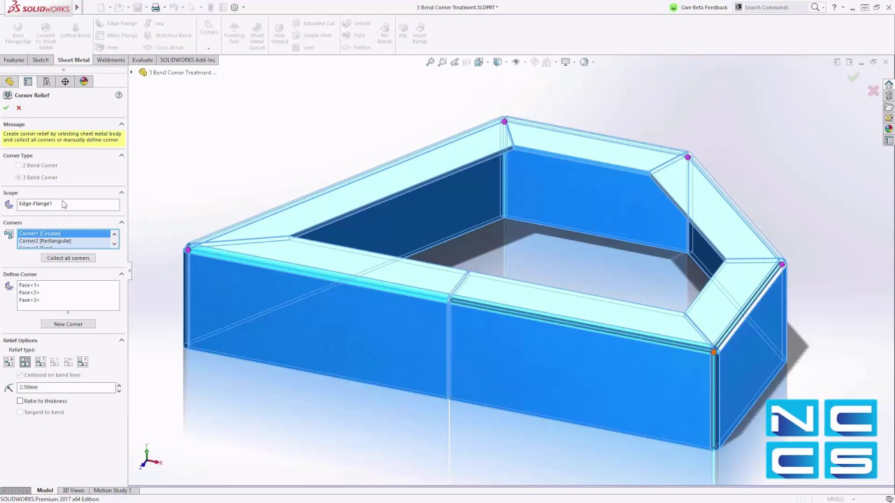 manual relief cuts in solidworks 2017