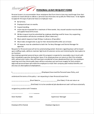 Personal leave application format for office