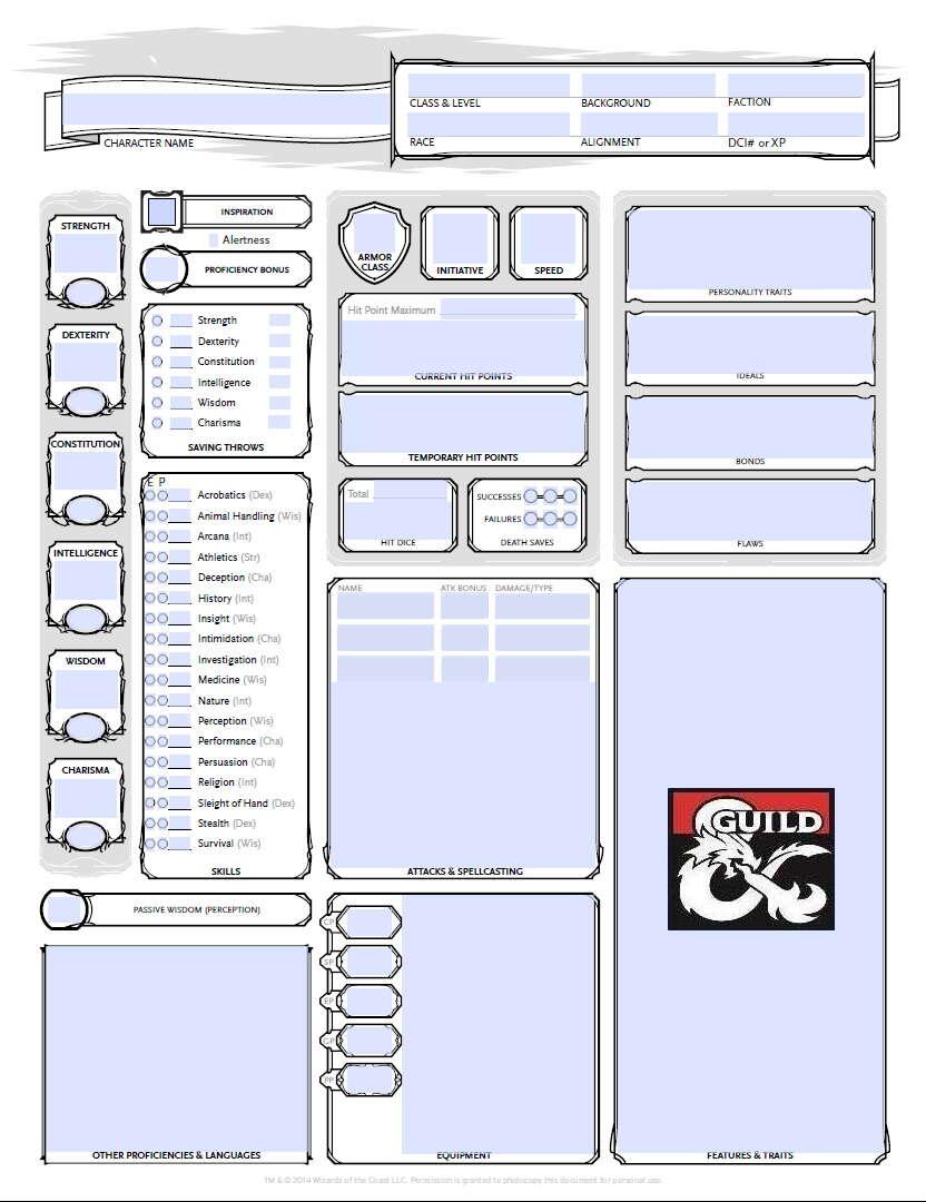 Fillable monster sheet pdf 5e