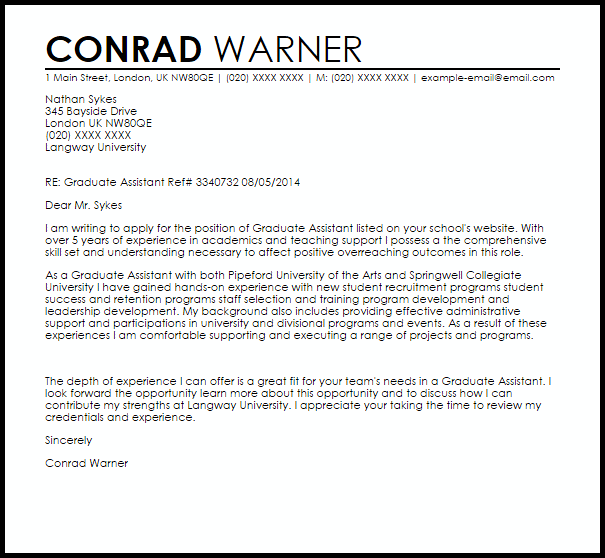 Application letter example for student assistant