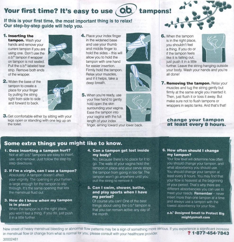 libra tampon applicator instructions
