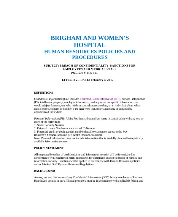 Human resources guidelines for employees