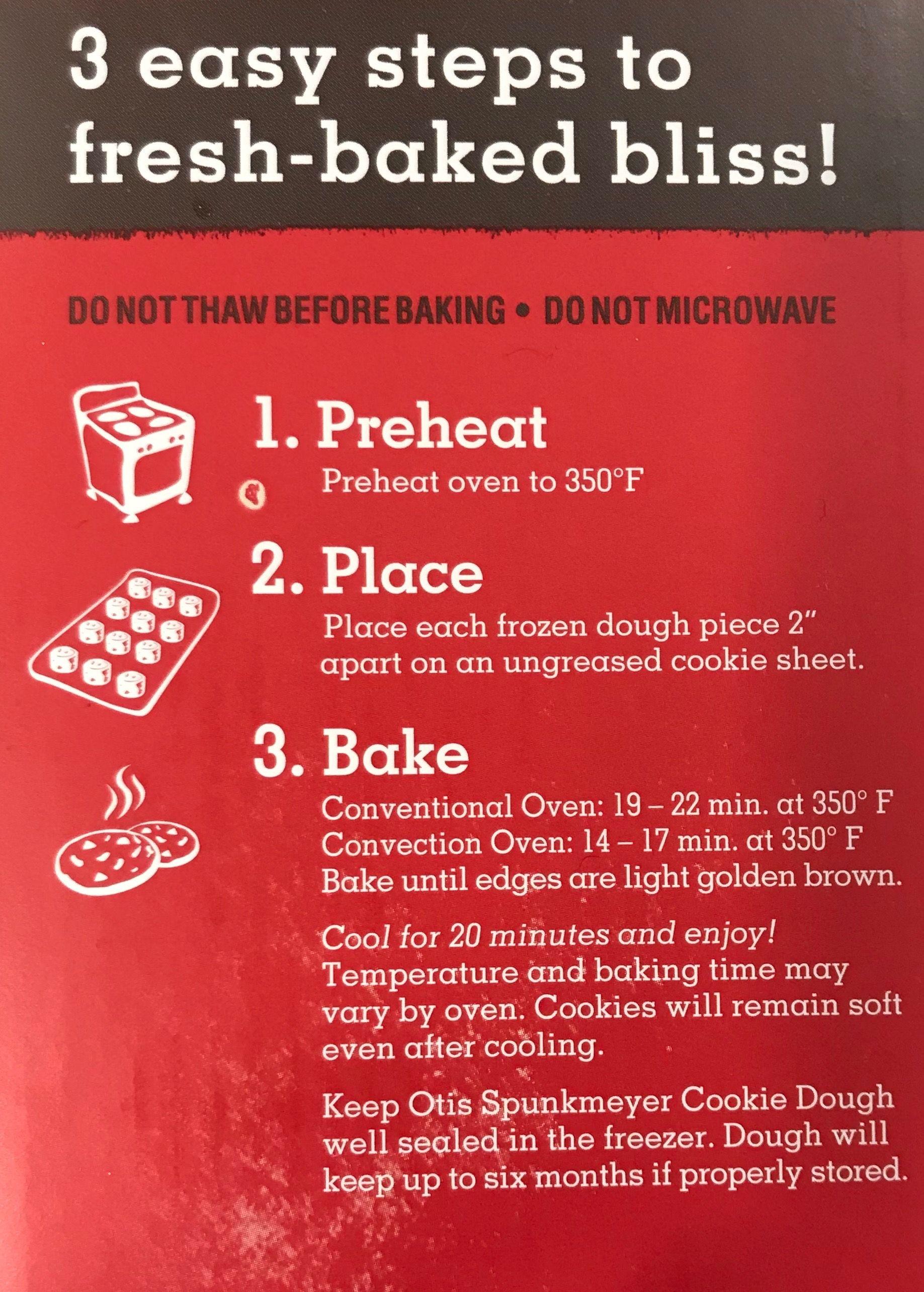 Otis spunkmeyer chocolate chip cookie baking instructions