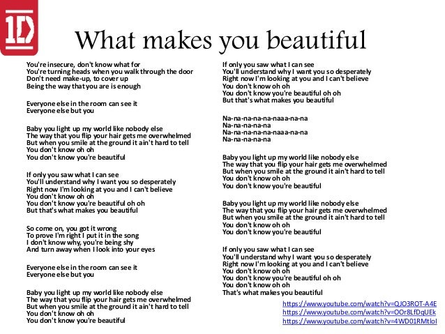 What makes you beautiful lyrics pdf