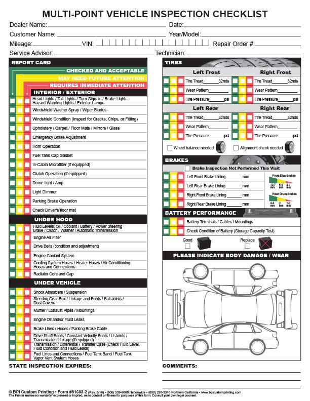 New car pre delivery inspection checklist pdf