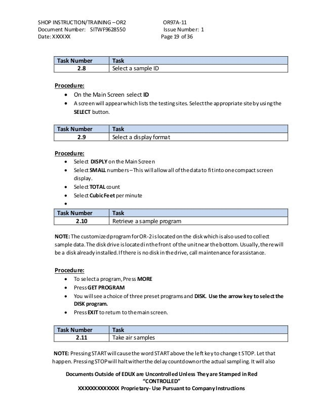 process procedure work instruction examples