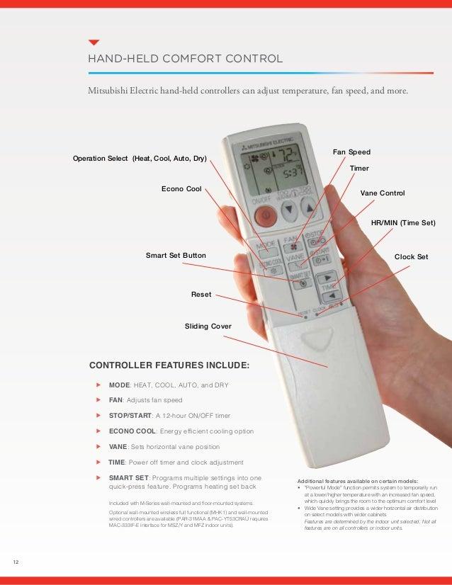 mitsubishi electric mr slim inverter remote manual