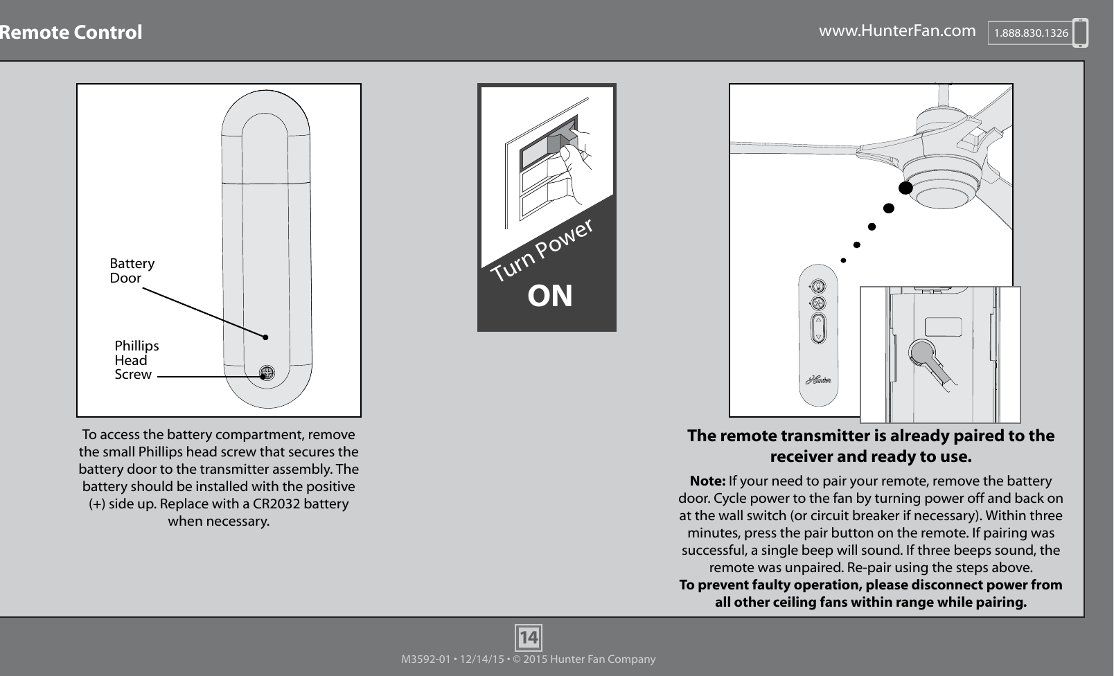 Hunter ceiling fan remote installation instructions