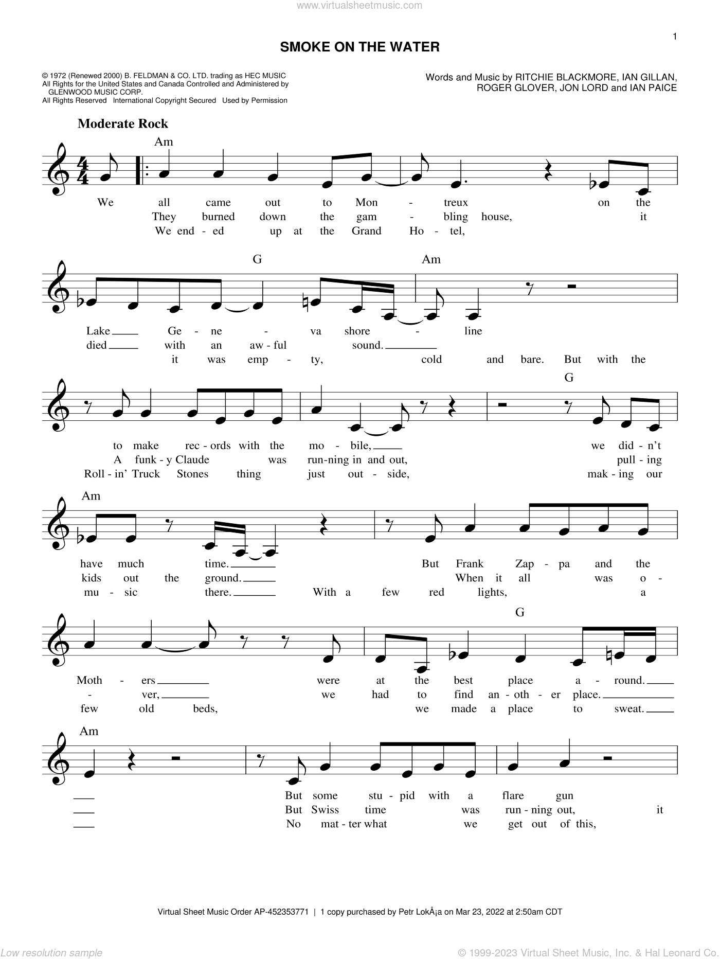 Smoke on the water music sheet pdf