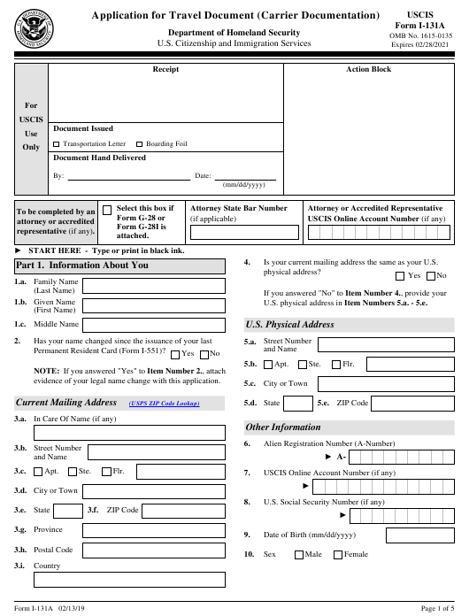 Travel document application form pdf