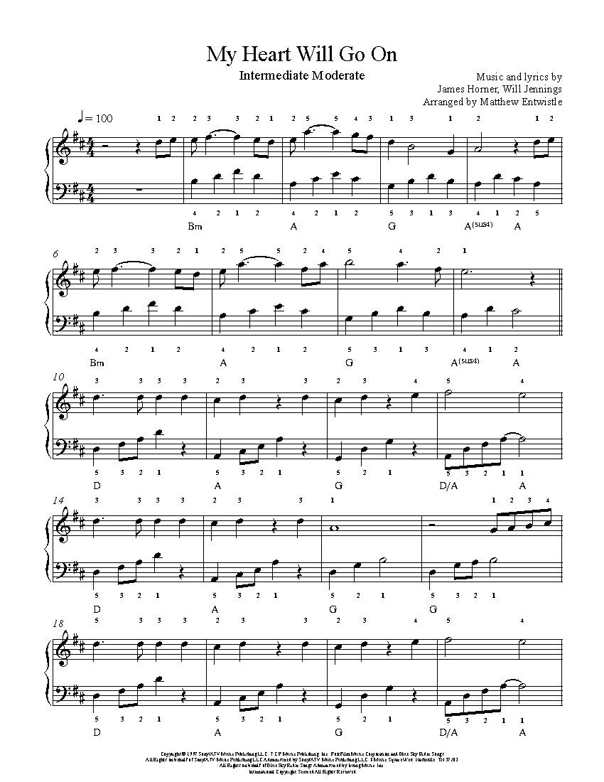 My heart will go on piano sheet music pdf easy