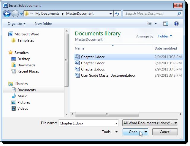 Split word document using master document