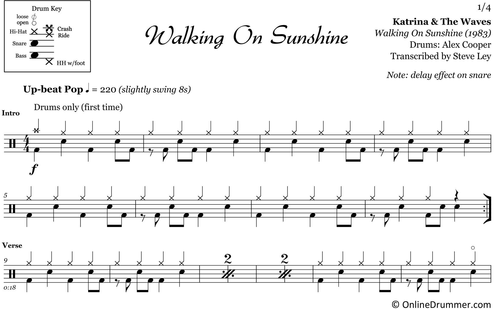 Walking on sunshine marching band pdf