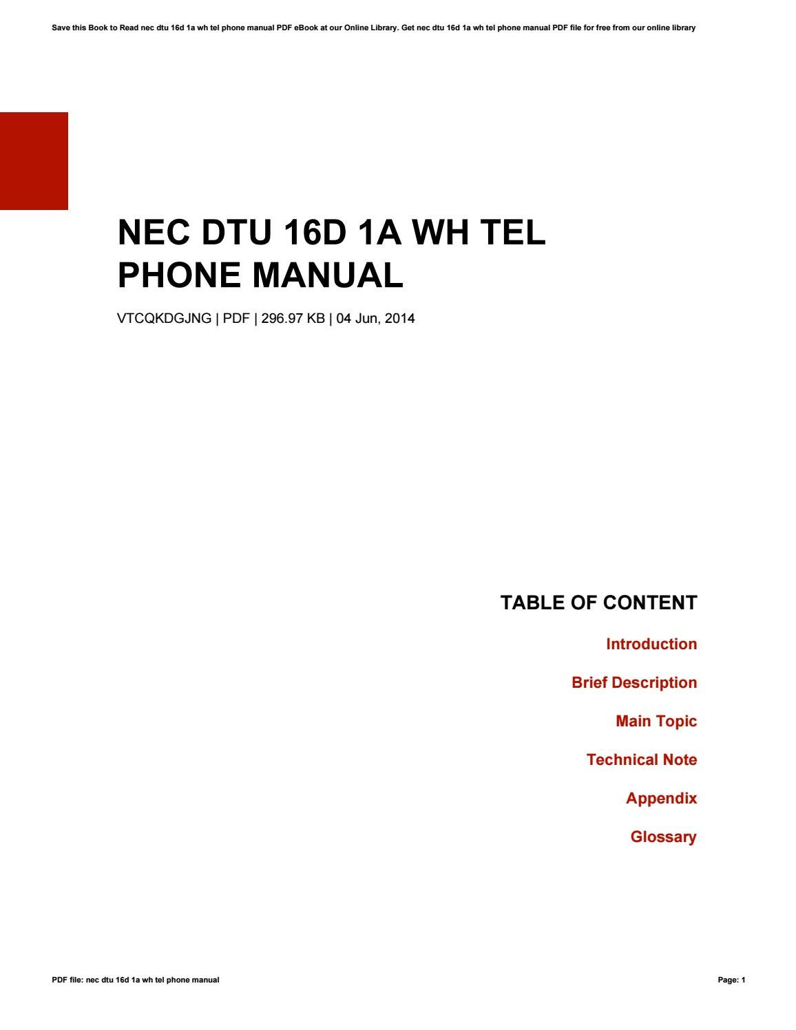 phone nec 16d instructions manual in french
