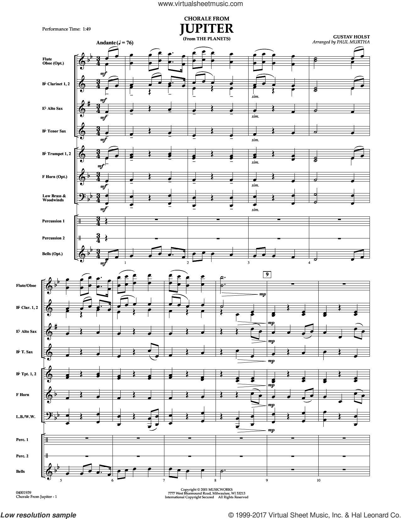 Chorale from jupiter arranged by paul murtha score pdf