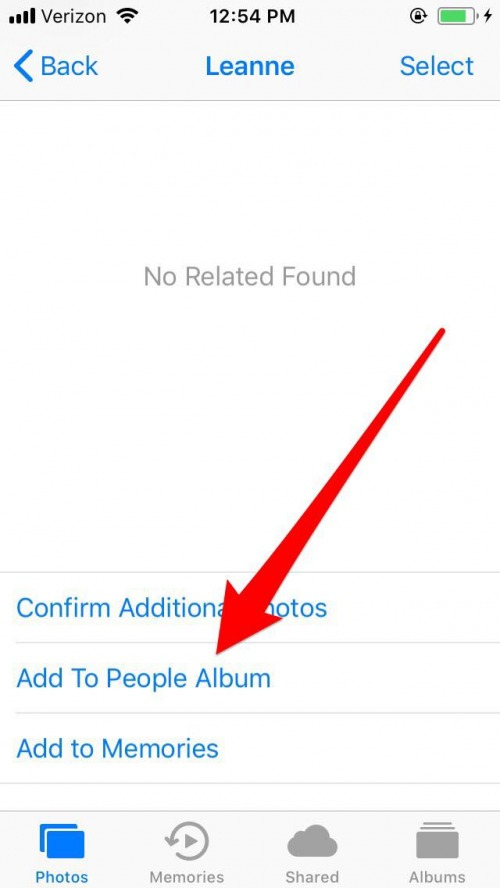 Iphone how to add unrecognized pictures to the people album