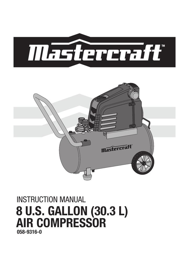 Mastercraft 10 gallon air compressor manual