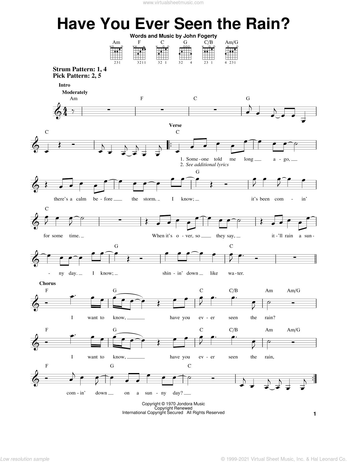 Have you ever seen the rain piano sheet music pdf