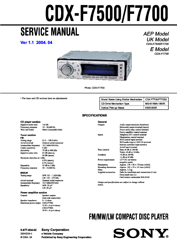 Sony cdx-fs214 user manual
