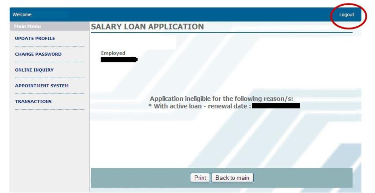 Application for loan against salary