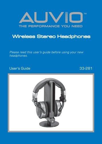 auvio wireless headphones 3301089 manual