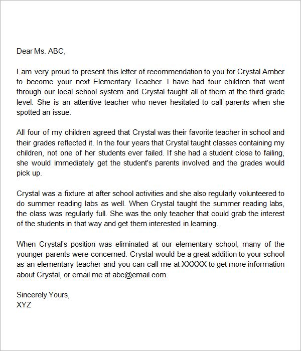 Parent reference letter for teacher pdf