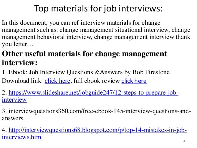 Change management interview questions and answers pdf