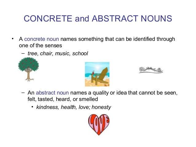Concrete and abstract noun dictionary