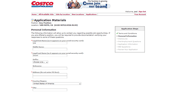 Costco job application form uk