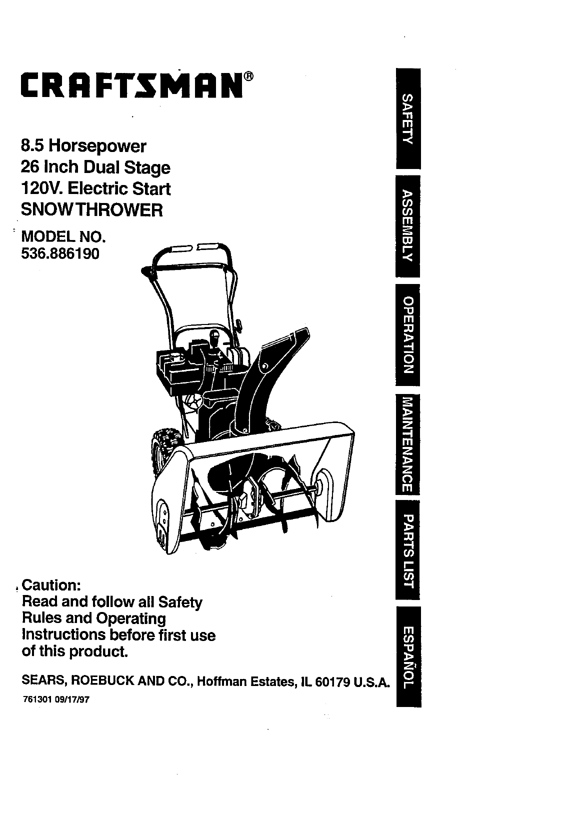 craftsman 12.5 33 snowblower manual