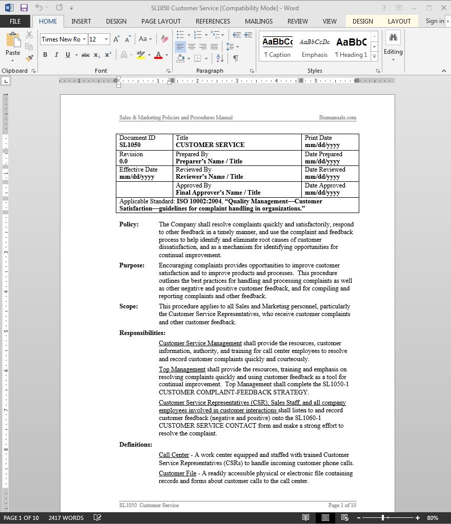 Customer service policy and procedures manual sample