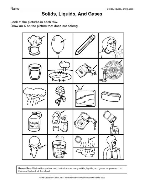 Solids liquids and gases worksheets pdf