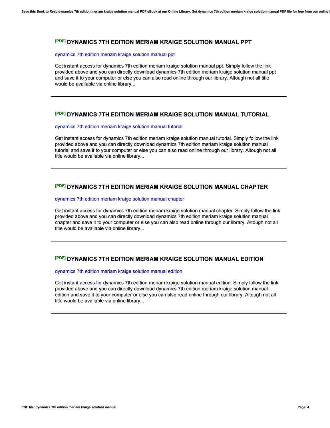 dynamics meriam 8th edition solution manual