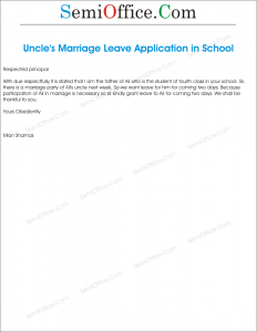 Application for leave from school for own marriage